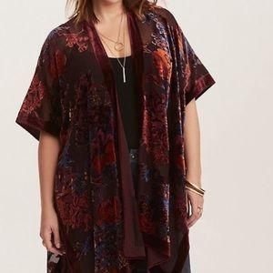 Torrid burnout floral velvet trim kimono
